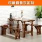 碳化餐桌全实木餐桌椅组合饭店餐桌快餐烧烤餐饮桌椅小吃桌子定制