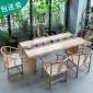 松木原木整板泡茶桌椅�M合茶�着��l客�d全��木大板茶�_�k公室茶桌